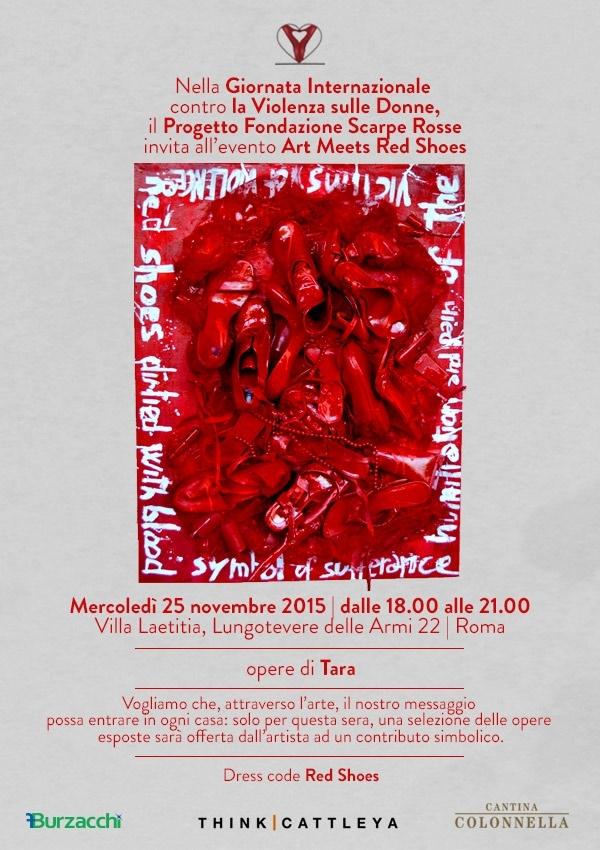 """""""Art Meets Red Shoes"""" – Progetto Fondazione Scarpe Rosse – 25 novembre dalle 18 alle 21 – Villa Laetitia, Roma"""