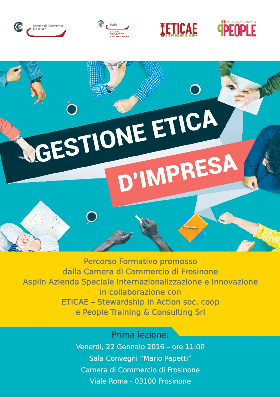 """Ciclo di seminari formativi sulla Gestione Etica d'Impresa - Dal 22 al 13 maggio 2016 - Sala Convegni """"Mario Papetti"""" della Camera di Commercio di Frosinone"""