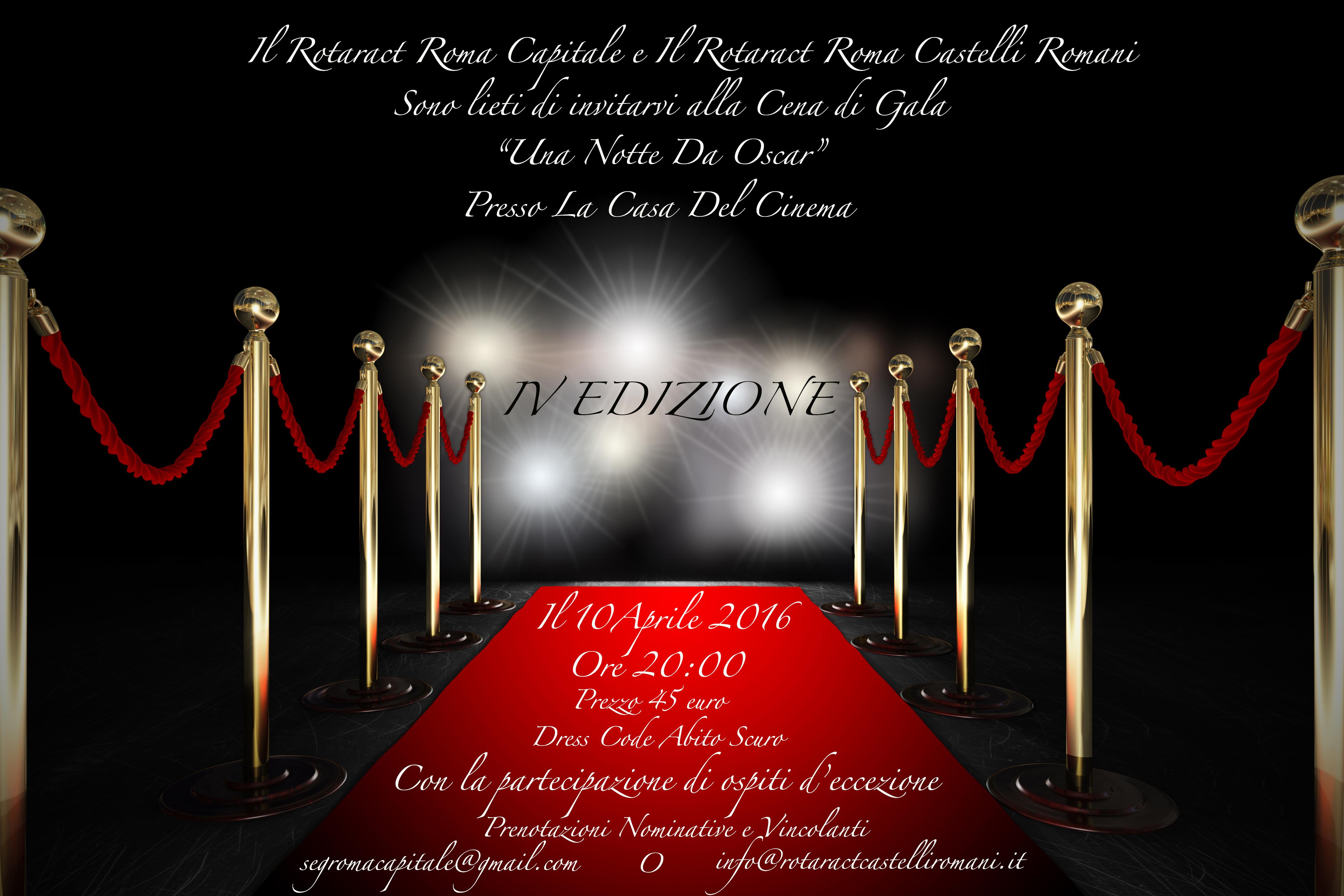 """Cena raccolta fondi """"Una notte da Oscar"""" - 10 aprile – ore 20 - Casa del Cinema - Roma"""