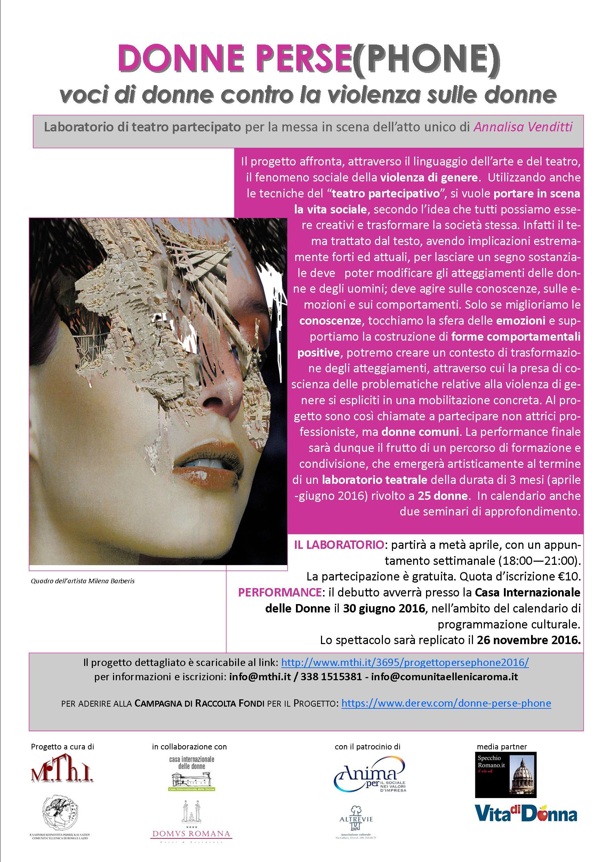 DONNE PERSE(PHONE) - Voci di donne contro la violenza sulle donne - Aprile – Giugno 2016