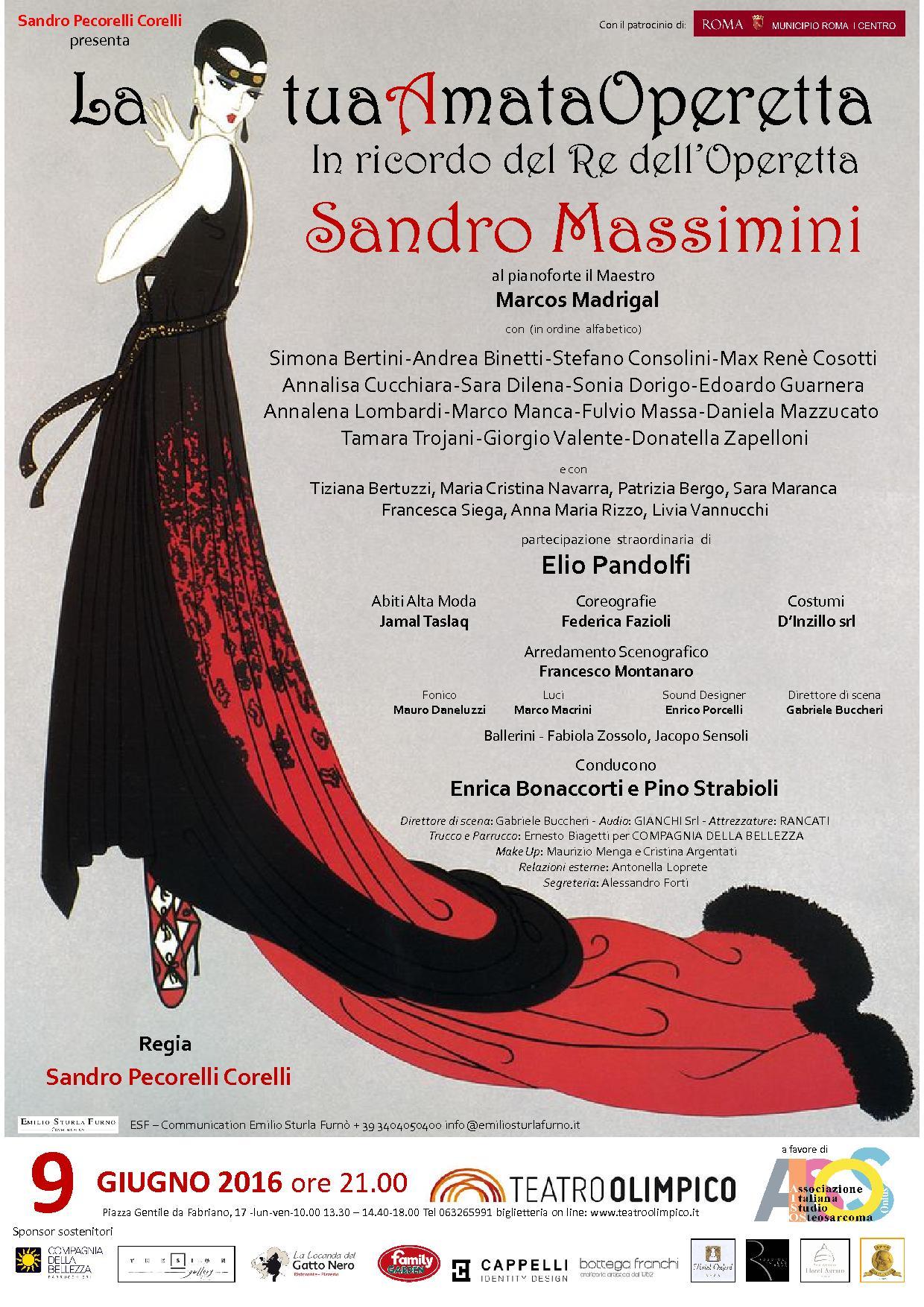 """""""La Tua amata Operetta"""" - Tributo a Sandro Massimini - 9 Giugno 2016 - ore 21 - Teatro Olimpico - Piazza Gentile da Fabriano 17 - Roma"""