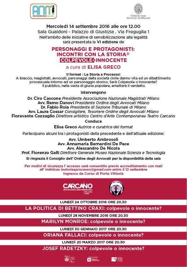 """""""La Storia a Processo!"""" - 14 settembre 2016 - ore 12 - Sala Gualdoni - Palazzo di Giustizia - Milano"""