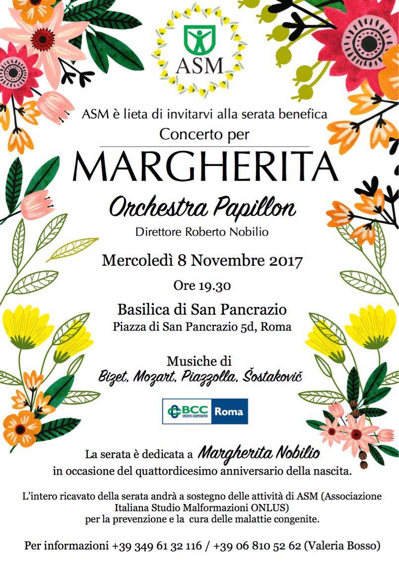 """""""Concerto per Margherita"""" 8 novembre 2017 – ore 19.30 – Basilica di San Pancrazio – Piazza di San Pancrazio 5d - Roma"""