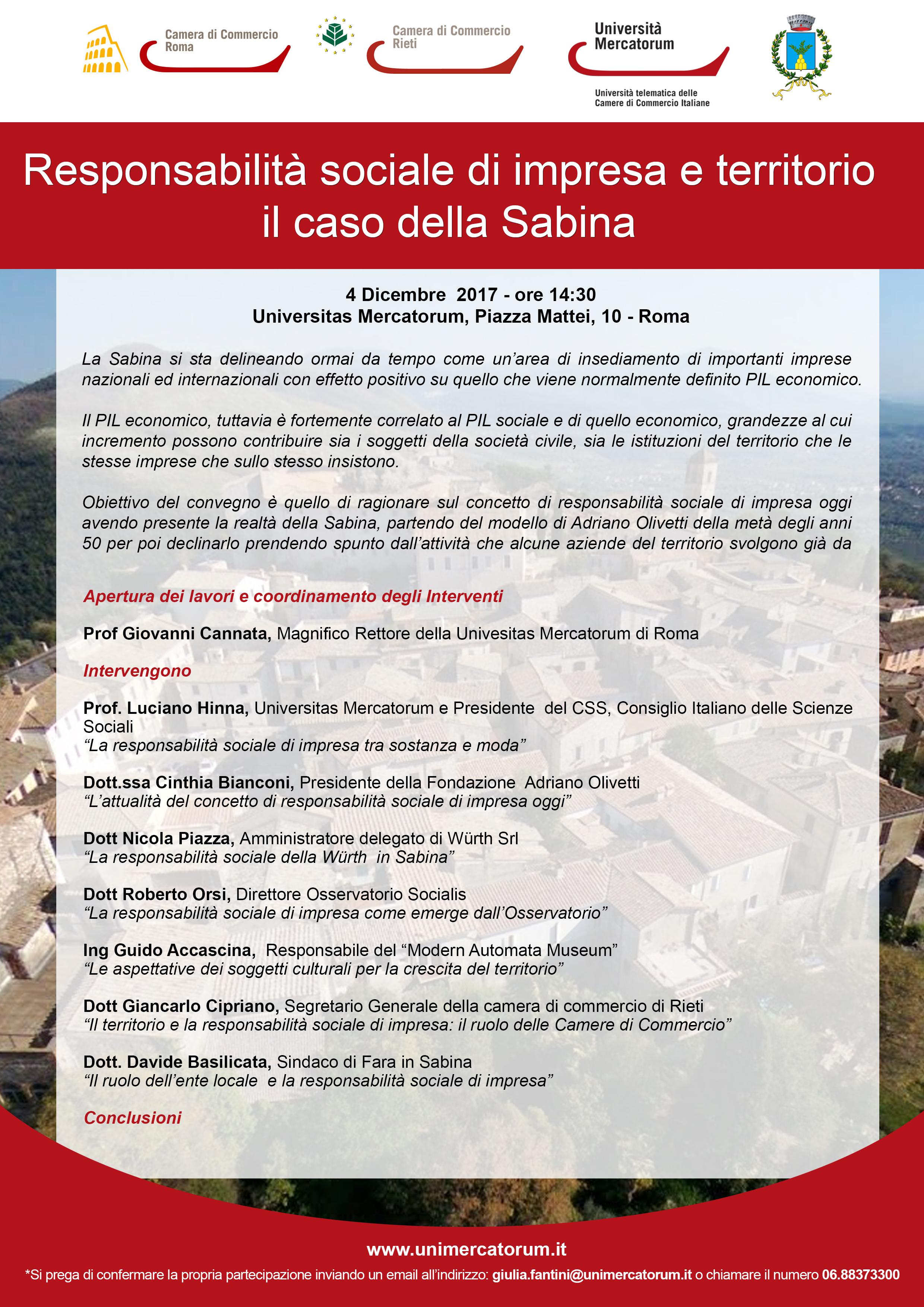 """""""Responsabilità Sociale di Impresa e Territorio. Il Caso della Sabina"""" - 4 Dicembre 2017 - ore 14:30 - Universitas Mercatorum, Piazza Mattei, 10 - Roma"""