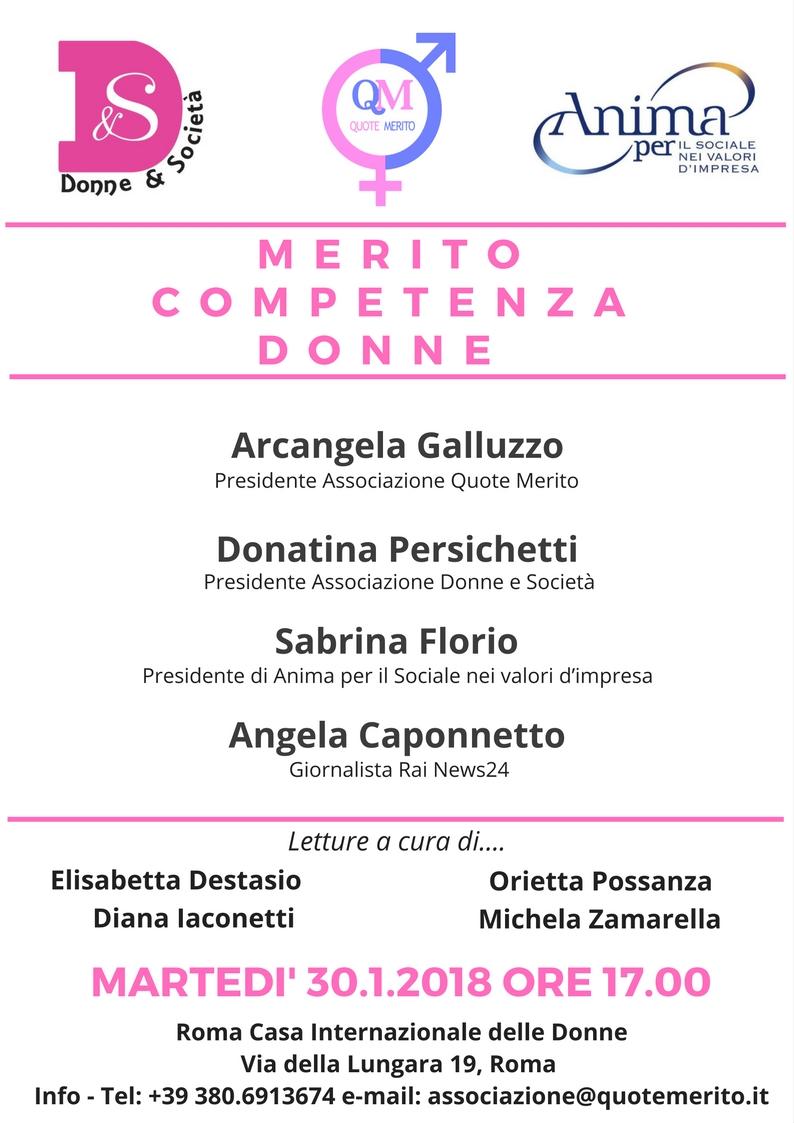 """""""Merito, Competenza, Donne"""" - 30 gennaio 2018 - ore 17 - Roma Casa Internazionale delle Donne - Via della Lungara, 19 - Roma"""