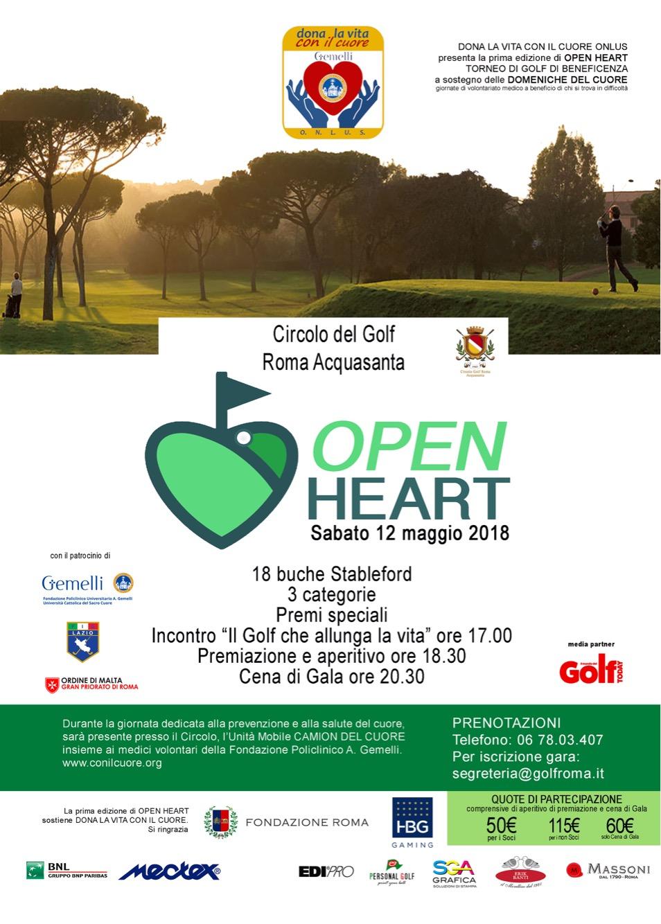 OPEN HEART - Sabato 12 maggio 2018 - Circolo del Golf – Roma Acquasanta