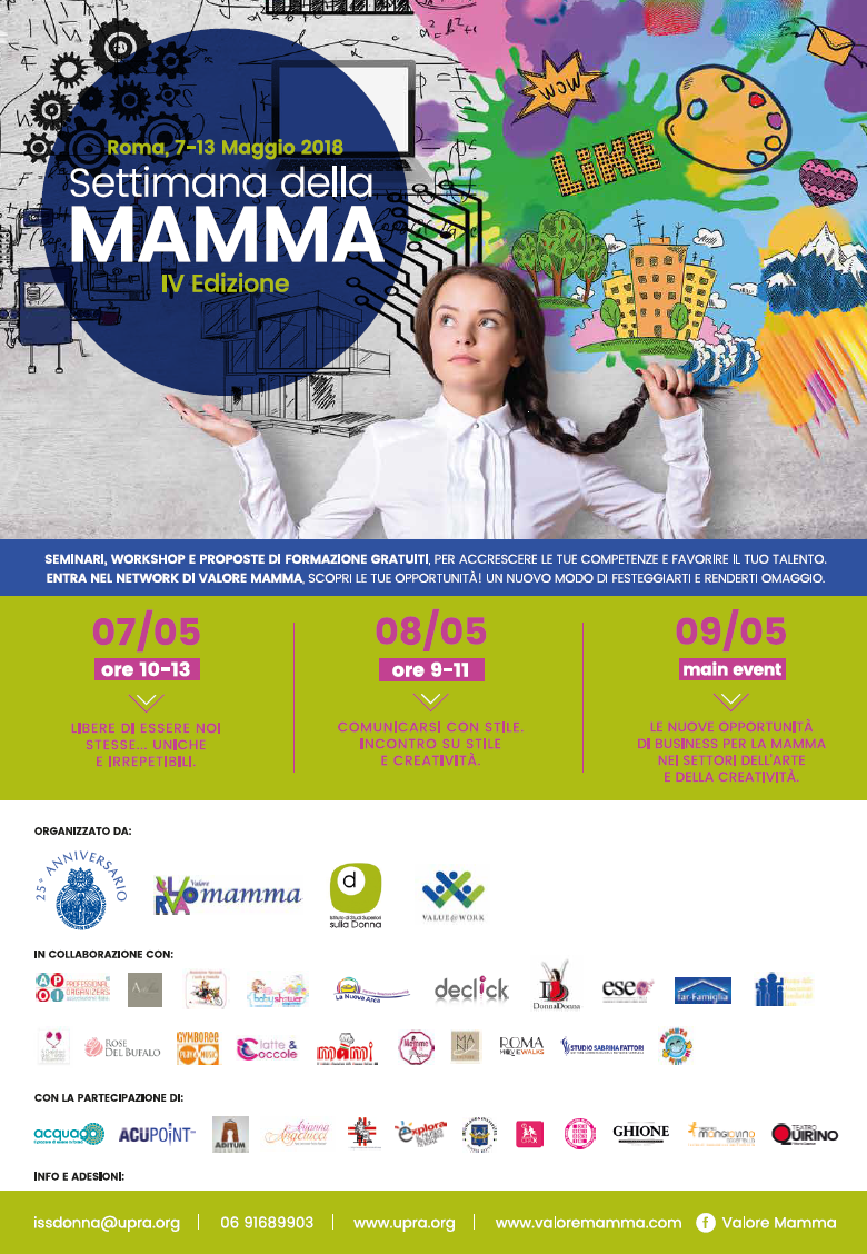 """""""Settimana della mamma"""" – 7/13 Maggio 2018 - Roma"""
