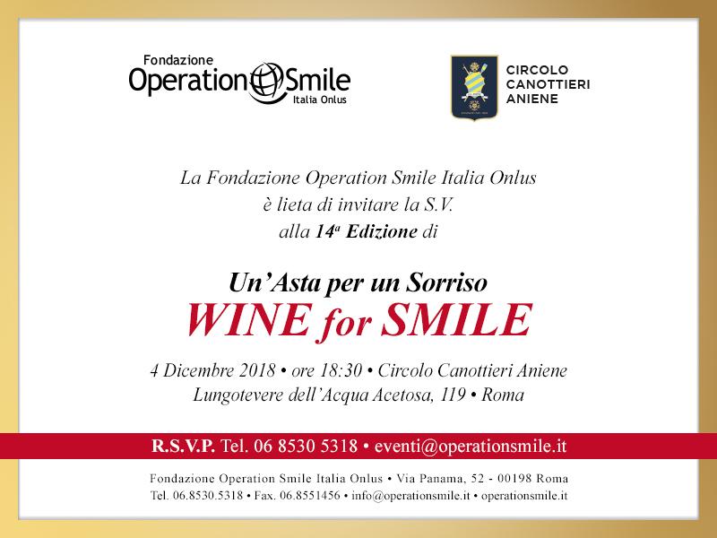 Wine for Smile – Un'asta per un sorriso - 4 dicembre 2018 - ore 18.30 – Lungotevere dell'Acqua Acetosa 119 - Roma