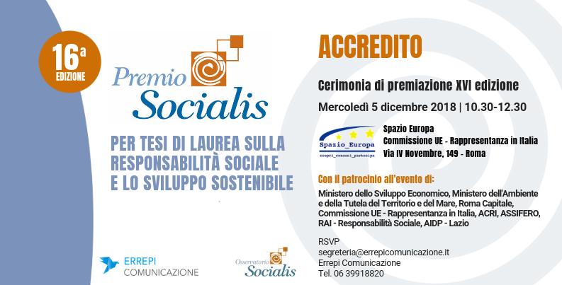 Premio Socialis 2018 - XVI edizione - 5 dicembre 2018 - 10.30-12.30 - Spazio Europa, Via IV Novembre 149 - Roma