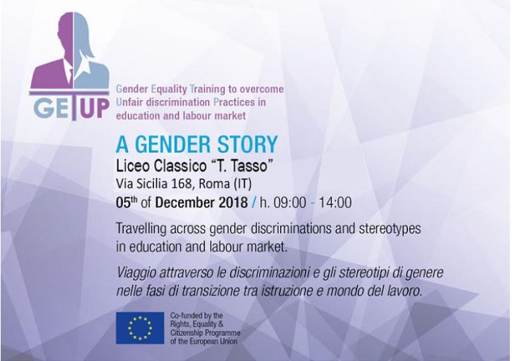 """Conferenza internazionale """"A Gender Story"""" - 5 dicembre 2018 - ore 9 – 14 - Liceo Classico """"T. Tasso"""" - Roma"""