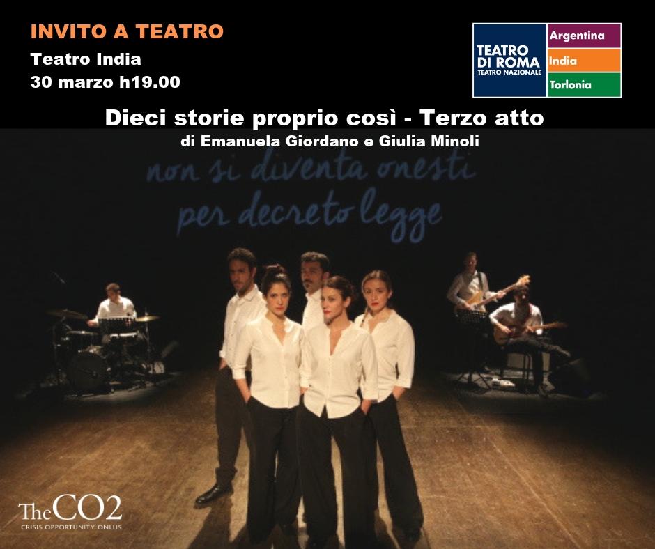 """Spettacolo teatrale """"Dieci Storie proprio così"""" - 30 marzo 2019 - ore 19 - Teatro India- Lungotevere Vittorio Gassman - Roma"""