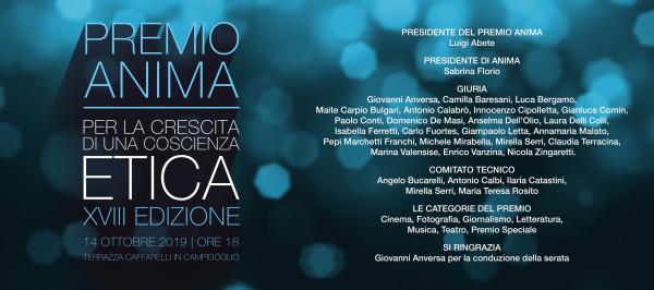 Save the date PREMIO ANIMA - 14 Ottobre 2019