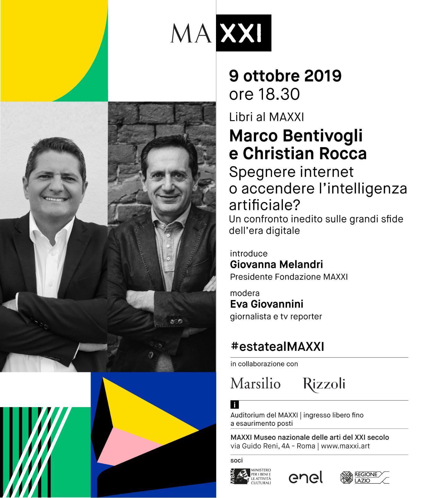 """""""Marco Bentivogli e Christian Rocca. Spegnere internet o accendere l'intelligenza artificiale?"""" - 9 Ottobre 2019 - 18:30 - Auditorium del MAXXI – Roma"""