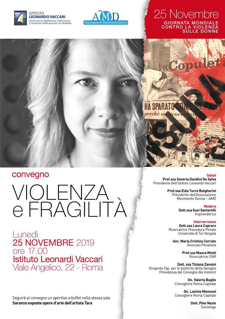 """""""Violenza e fragilità"""" – 25 novembre 2019 – ore 17 – Istituto Leonarda Vaccari – Via Angelico, 22 – Roma"""