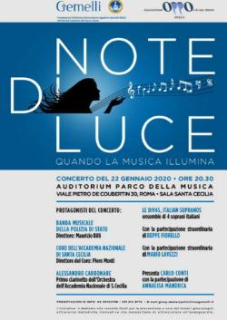 """Concerto di beneficenza """"Note di Luce"""" - 22 gennaio 2020 - ore 20,30 - Sala Santa Cecilia Auditorium Parco della Musica - viale Pietro De Coubertin 30 – Roma"""