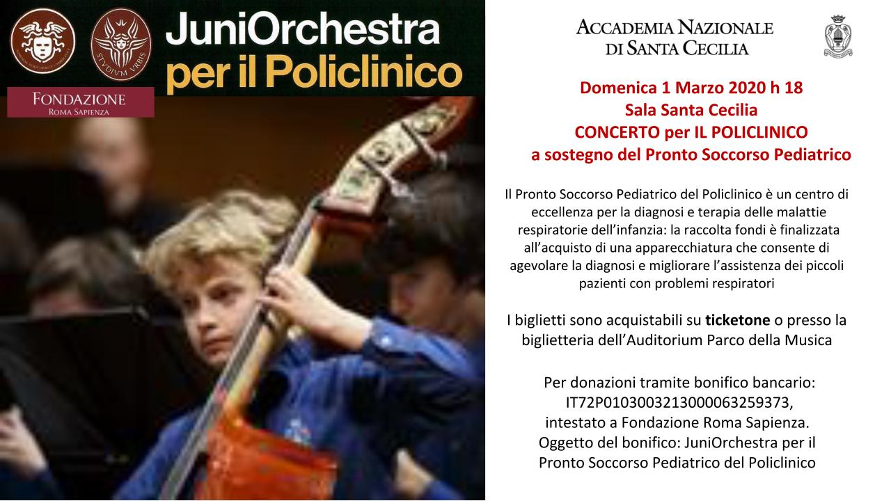 Concerto per il Policlinico a sostegno del Pronto Soccorso Pediatrico – 1 marzo – ore 18 – Sala Santa Cecilia - Auditorium Parco della Musica - Roma