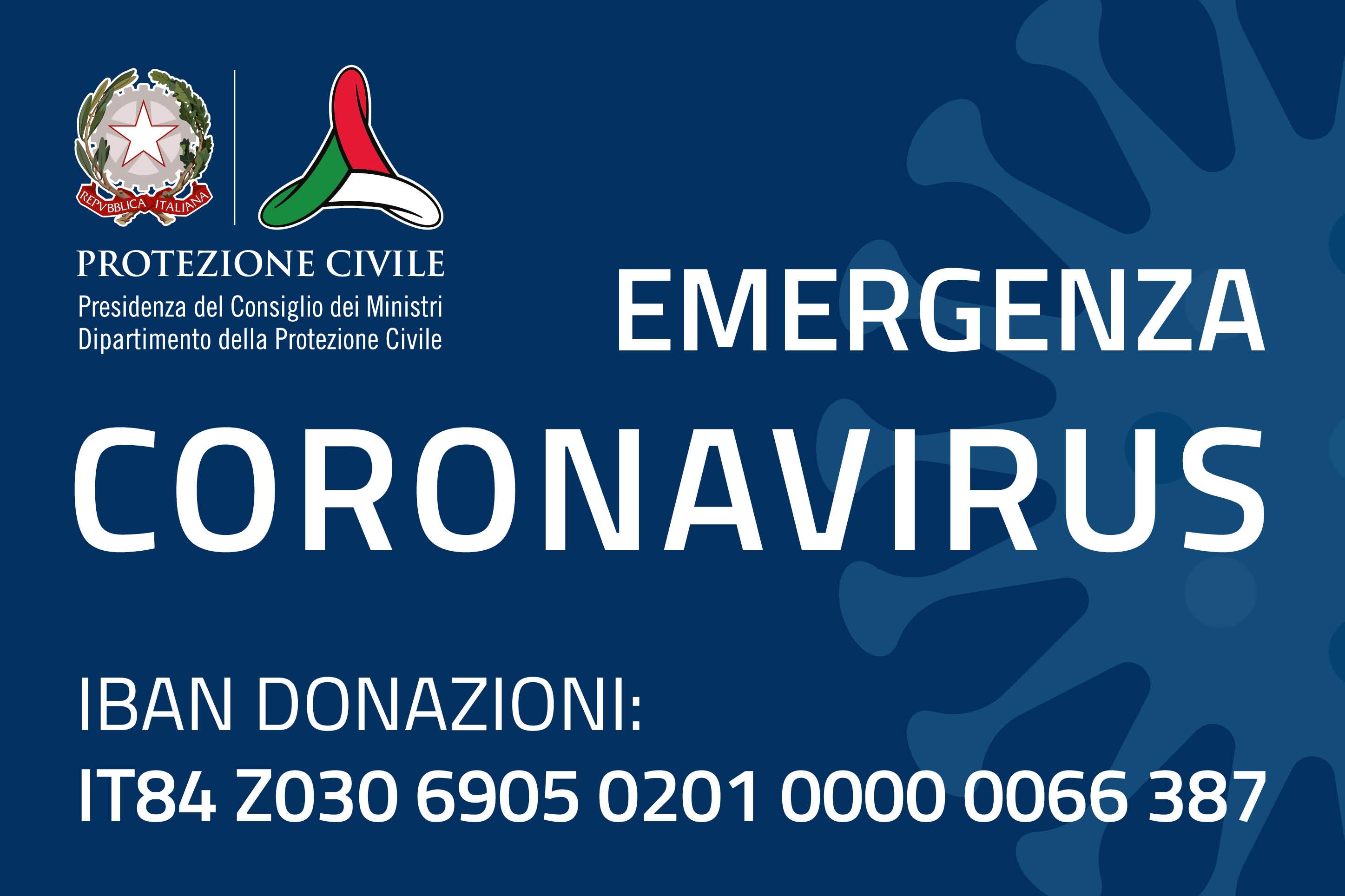 Emergenza coronavirus: attivato il conto corrente per le donazioni al Dipartimento della protezione civile