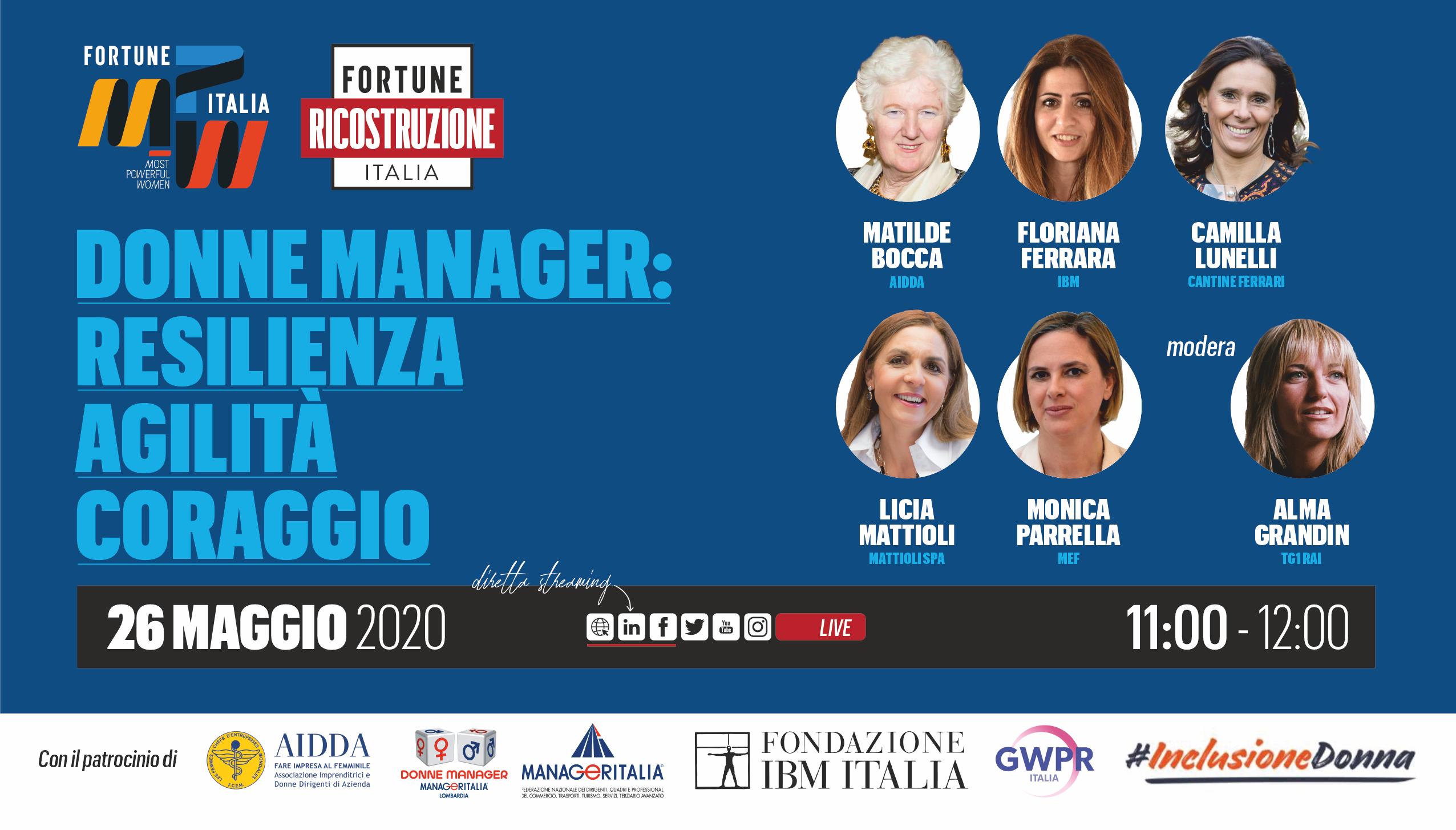 1° e-meeting Fortune Italia: Ricostruzione MPW - Most Powerful Women - 26 maggio 2020 - ore 11 - pagina Linkedin di Fortune Italia