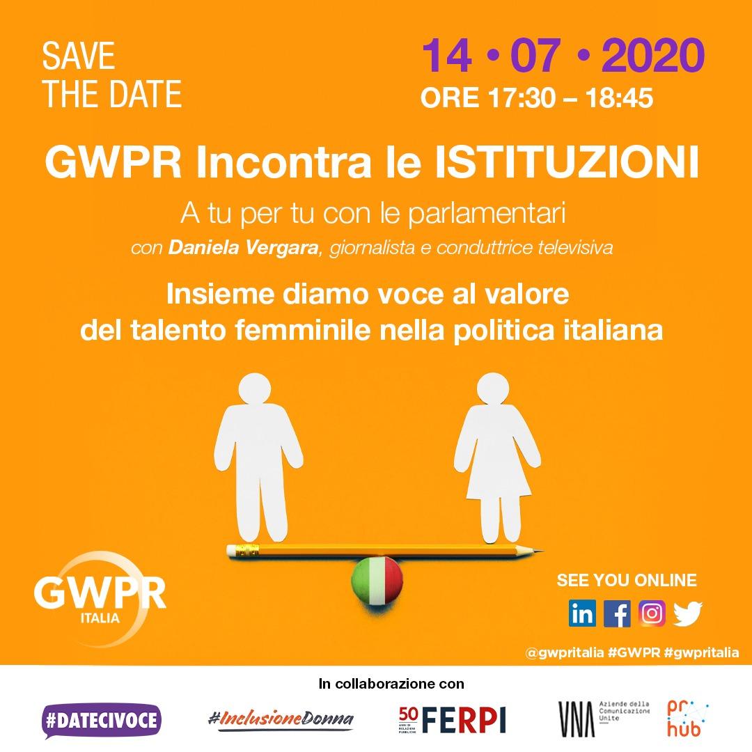GWPR ITALIA INCONTRA LE ISTITUZIONI - 14 luglio 2020 - dalle 17:30 alle 18:45