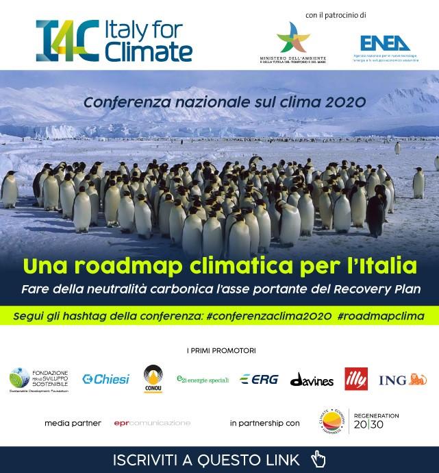 """Conferenza nazionale sul Clima 2020 """"Una roadmap climatica per l'Italia - Fare della neutralità carbonica l'asse portante del Recovery Plan"""" -13 e 16 ottobre 2020 - live streaming"""