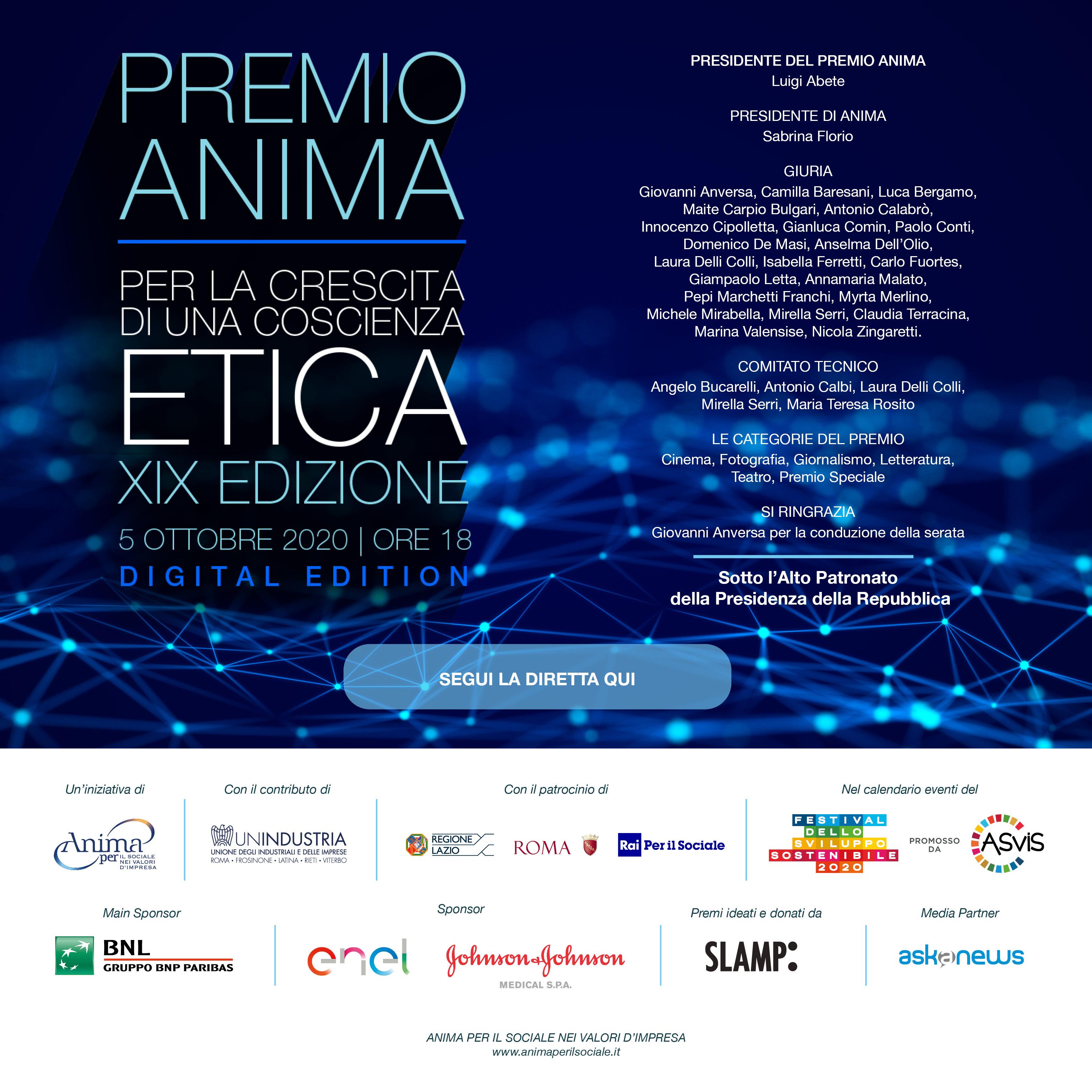 Premio Anima 2020 - i vincitori della XIX edizione - la fotogallery - la rassegna - il video integrale della cerimonia