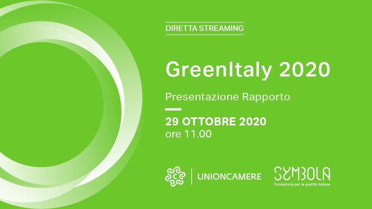 Presentazione GreenItaly 2020. In diretta streaming il 29 ottobre con Unioncamere