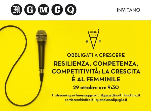 """Webinar de Il Messaggero """"Obbligati a Crescere"""" – Resilienza, Competenza, Competitività: La Crescita è al Femminile - 29 ottobre - dalle 9:30"""