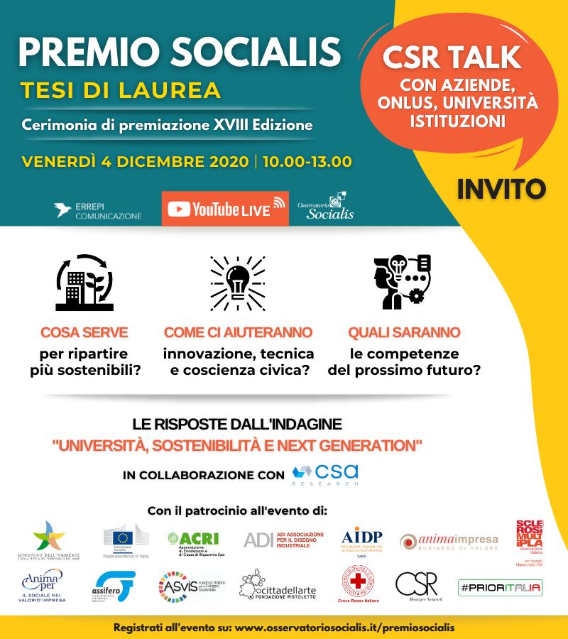 XVIII Premio Socialis: CSR Talk – 4 dicembre 2020