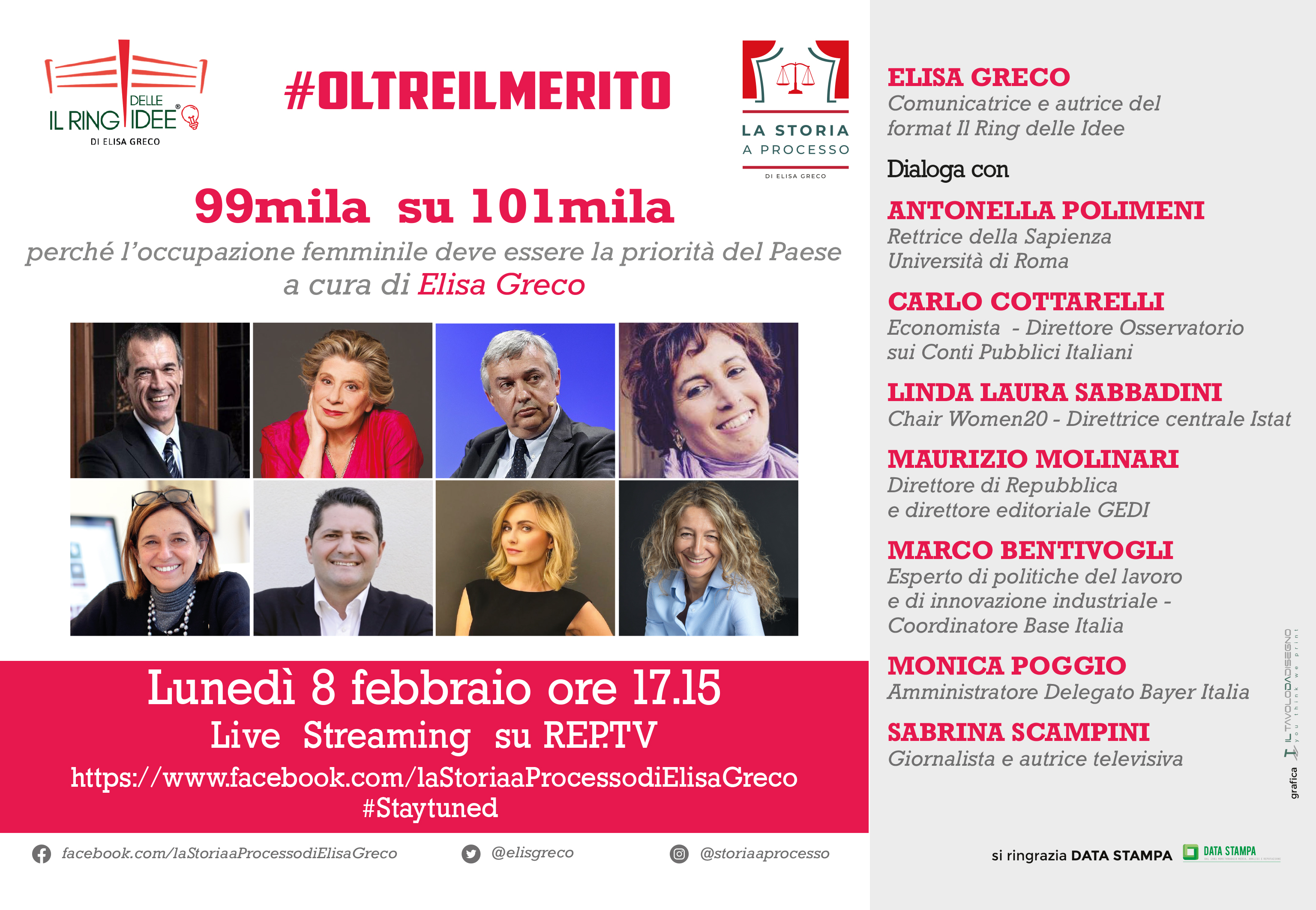 """""""99mila su 101mila. Perché l'occupazione femminile deve essere la priorità del Paese"""" a cura di Elisa Greco – 8 febbraio 2021 – ore 17.00 - LiveStreaming su REPTV"""