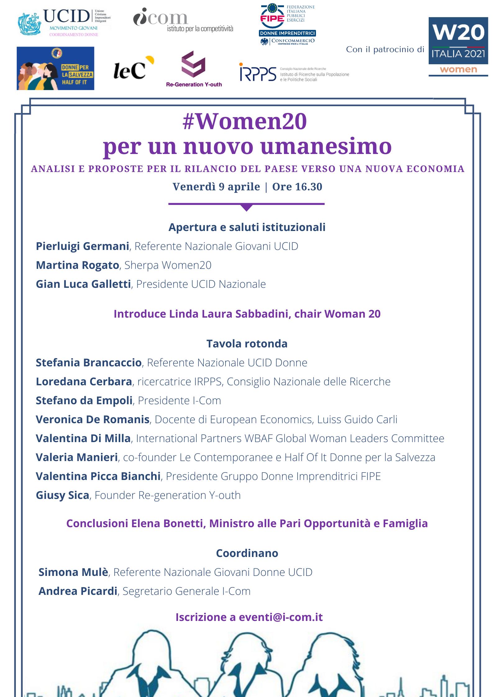 #Women20 per un nuovo umanesimo - 9 aprile, ore 16.30